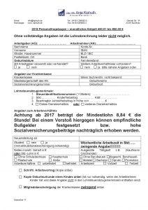 Personalfragebogen Entgelt 450,01 € bis 850,00 €