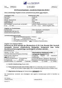 Personalfragebogen Entgelt über 450 e