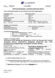 Personalfragebogen Entgelt über 450,00 €