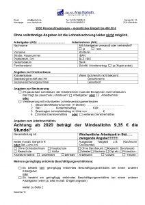 Personalfragebogen Entgelt bis 450 €