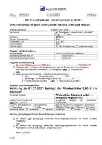 Personalfragebogen Entgelt bis 450,00 €