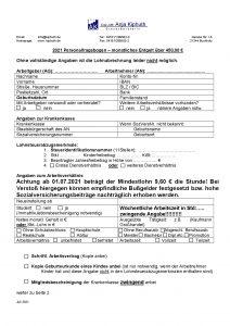 Personalfragebogen über 450,00 €